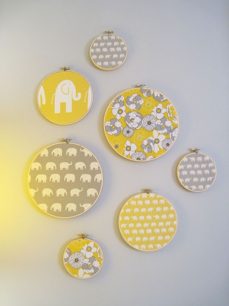 Framed Fabric Embroidery Hoop Art | Fabrics, Gray And Walls within Current Elephant Fabric Wall Art