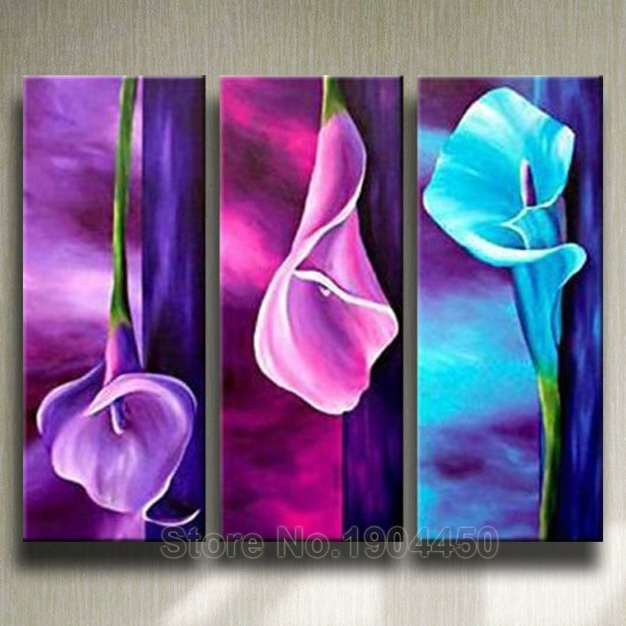 Framed Handmade Oil Painting On Canvas Purple Pink Blue Flower With Regard To Most Popular Purple Flowers Canvas Wall Art (View 13 of 15)