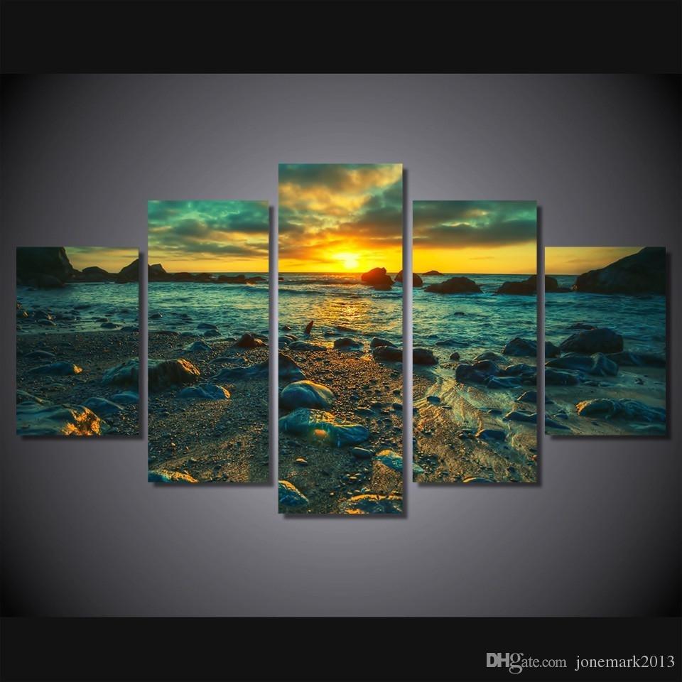 Framed Hd Printed Sunset Beach Rocks Picture Wall Art Canvas Print regarding Most Popular Ku Canvas Wall Art