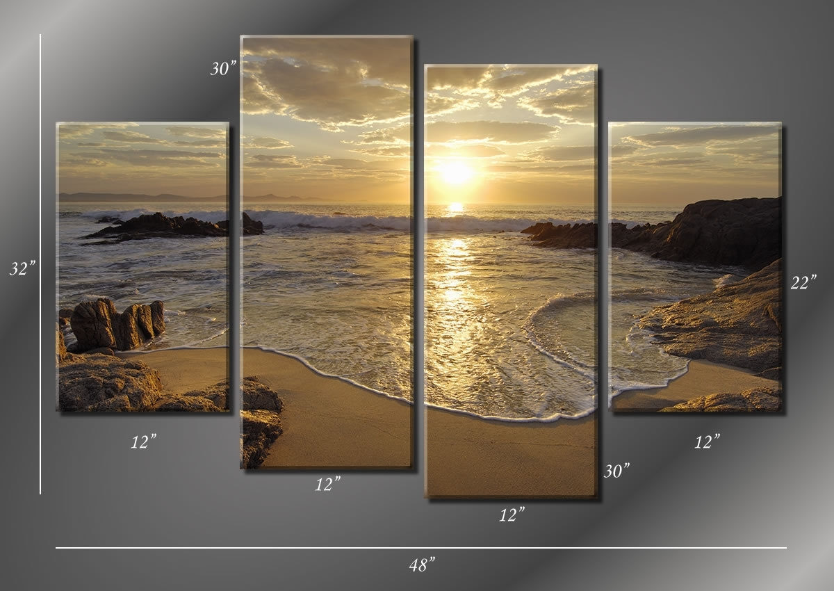 Framed Hugh 4 Panel Sunrise Sea Ocean Wave Sunset Beach Canvas Regarding Most Current Beach Canvas Wall Art (View 9 of 15)