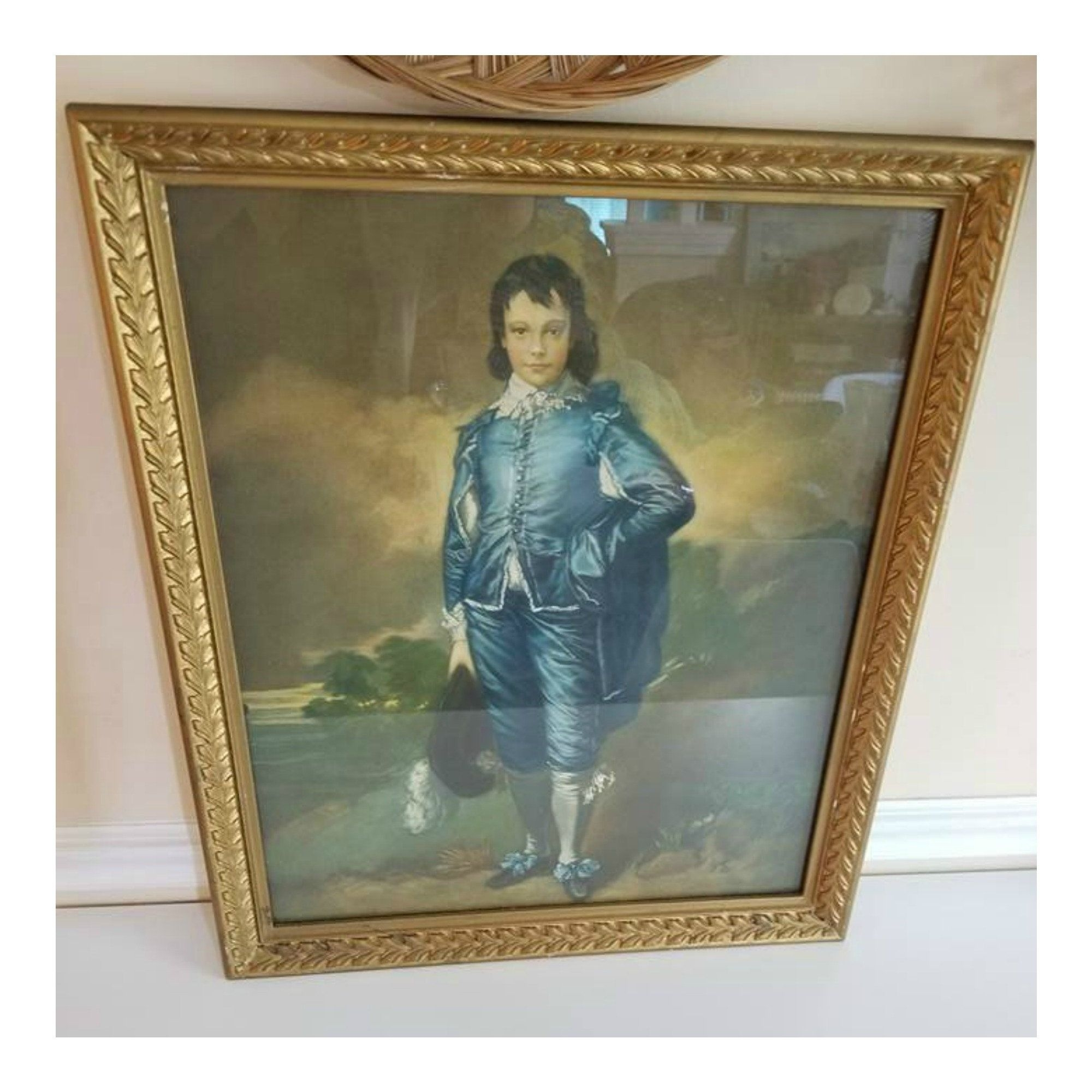Framed Original The Blue Boy Print, Vintage Framed Litho, Thomas Pertaining To Current Shabby Chic Framed Art Prints (View 6 of 15)