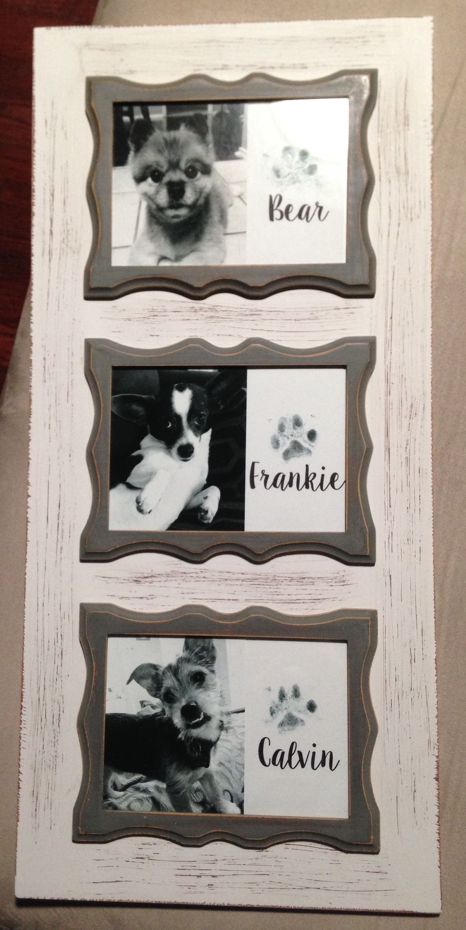 Framed Paw Print Art. Frame Is From Hobby Lobby And I Used Kid throughout 2017 Dog Art Framed Prints