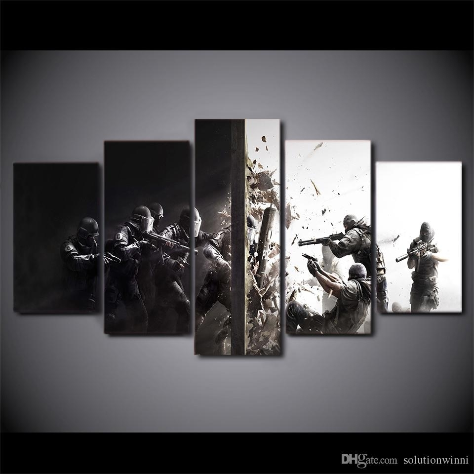 Framed Printed Rainbow Six Siege Game Home Wall Decor Canvas Within Recent Rainbow Canvas Wall Art (View 5 of 15)