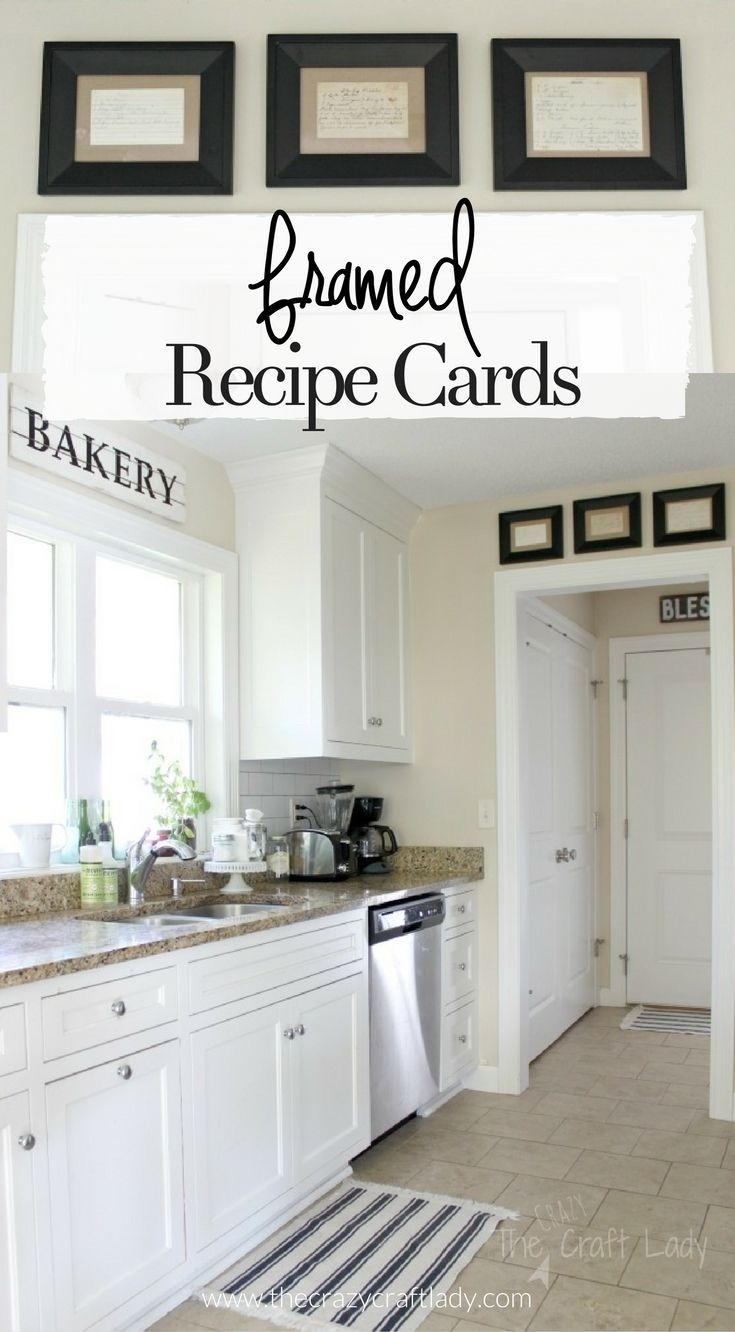 Framed Recipe Cards | Framed Recipes, Card Displays And Recipe Cards throughout Most Up-to-Date Wall Accents Cabinets