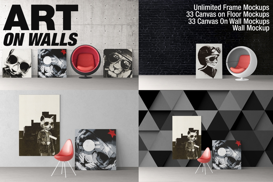 Frames Canvas Wall Mockups On Behance Pertaining To Most Recently Released Mockup Canvas Wall Art (Gallery 6 of 15)