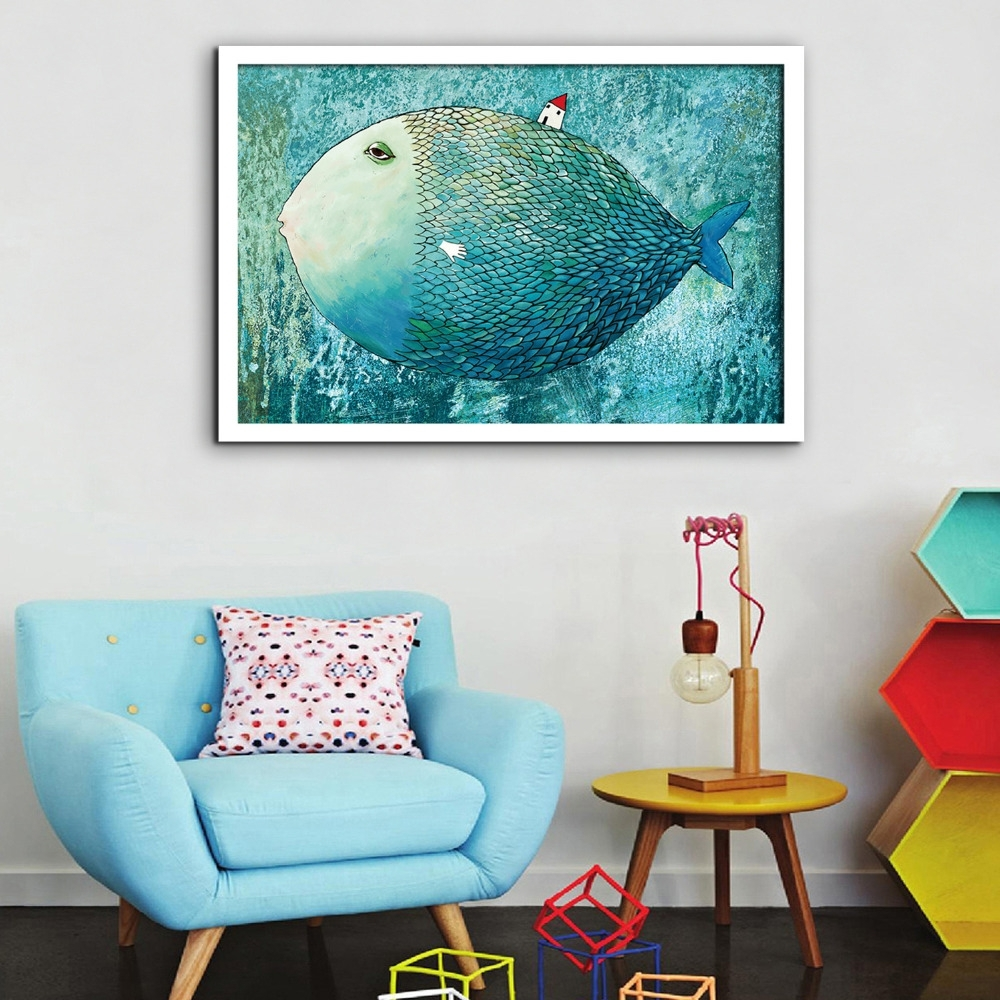 Frantic Free Shipping Framed Canvas Painting Art Magic Big Fish Pertaining To 2018 Mississauga Canvas Wall Art (Gallery 7 of 15)