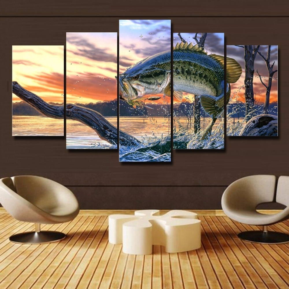 Free Shipping 5 Panels Bass Fishing Canvas Painting Home Decor For intended for Most Recently Released Bass Framed Art Prints