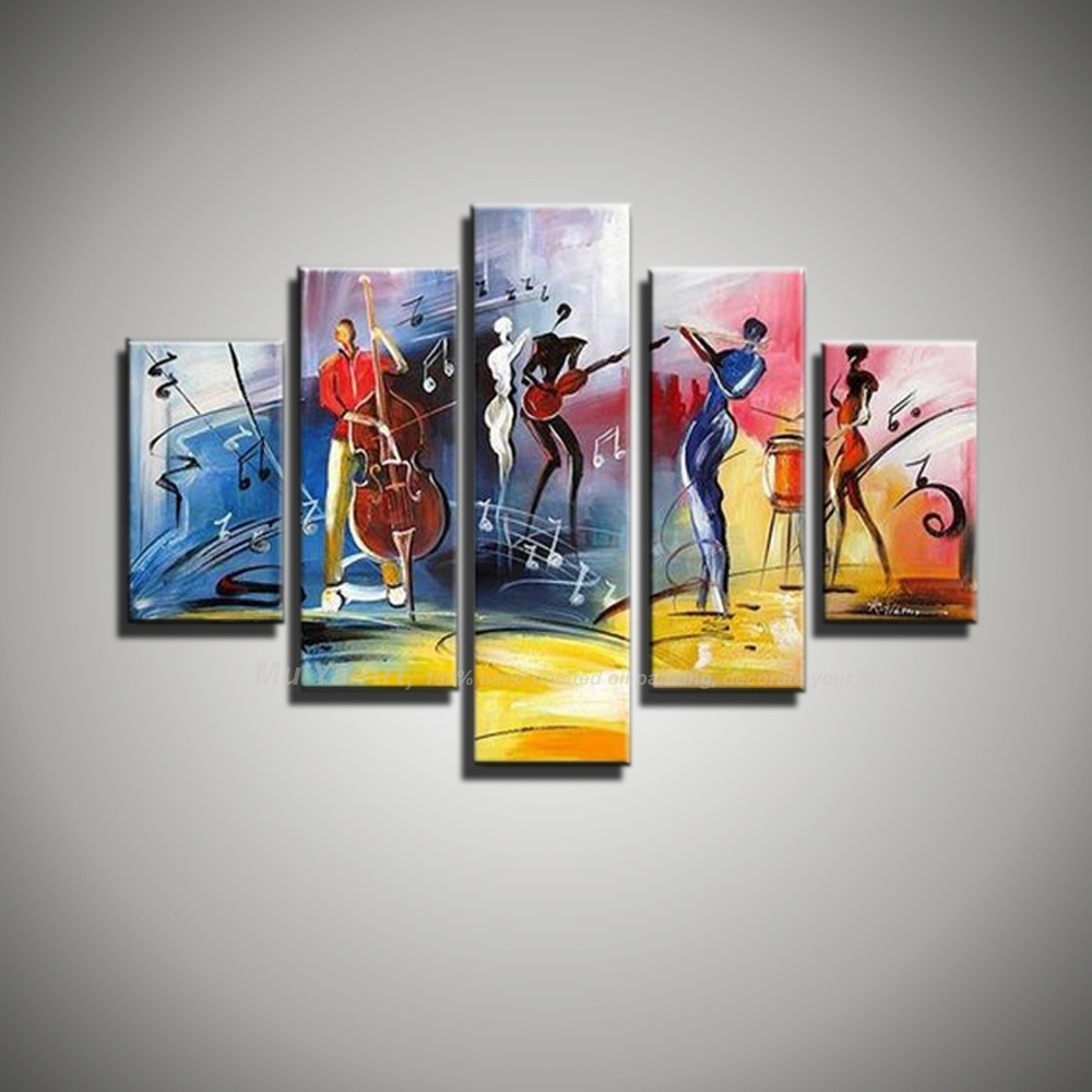 Free Shipping Modern Abstract Figure Painting Painted 5 Piece Pertaining To Latest Jazz Canvas Wall Art (View 5 of 15)