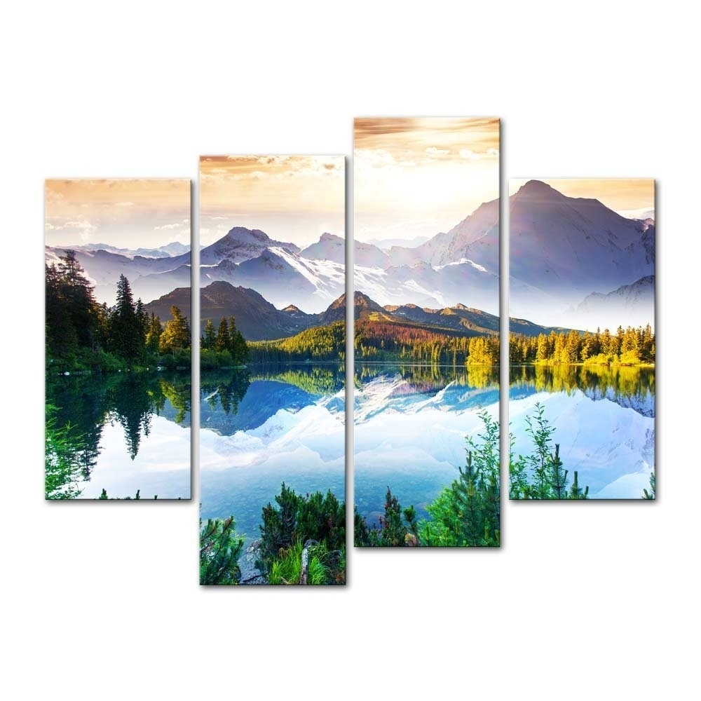 Fresh Panel Wall Art Plus Mountain Forest Lake 4 Canvas Print With Most Popular Mountains Canvas Wall Art (View 11 of 15)