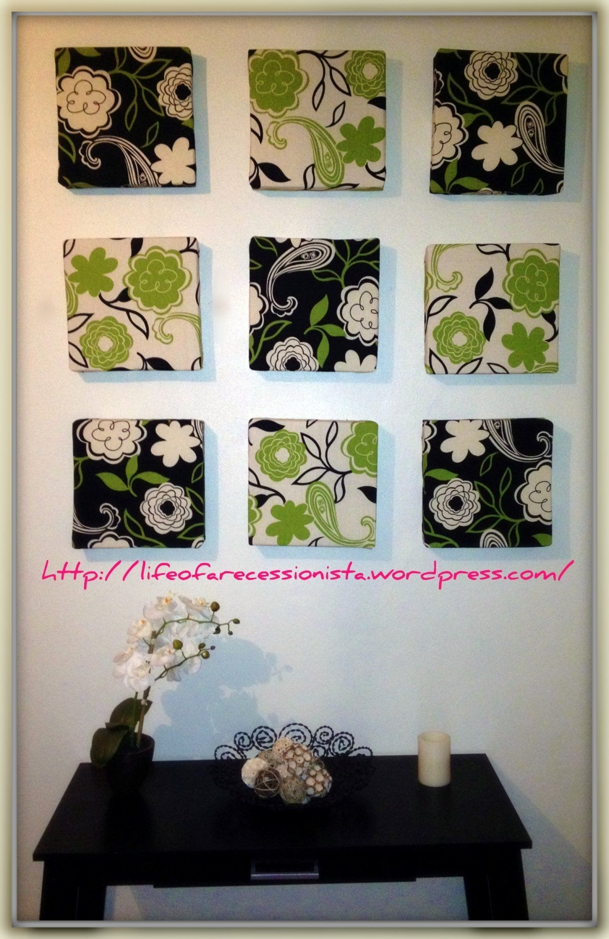 From Faux Fireplaces And Chinese Pottery Art To Marble Frame Regarding Most Recently Released Fabric Covered Squares Wall Art (View 6 of 15)