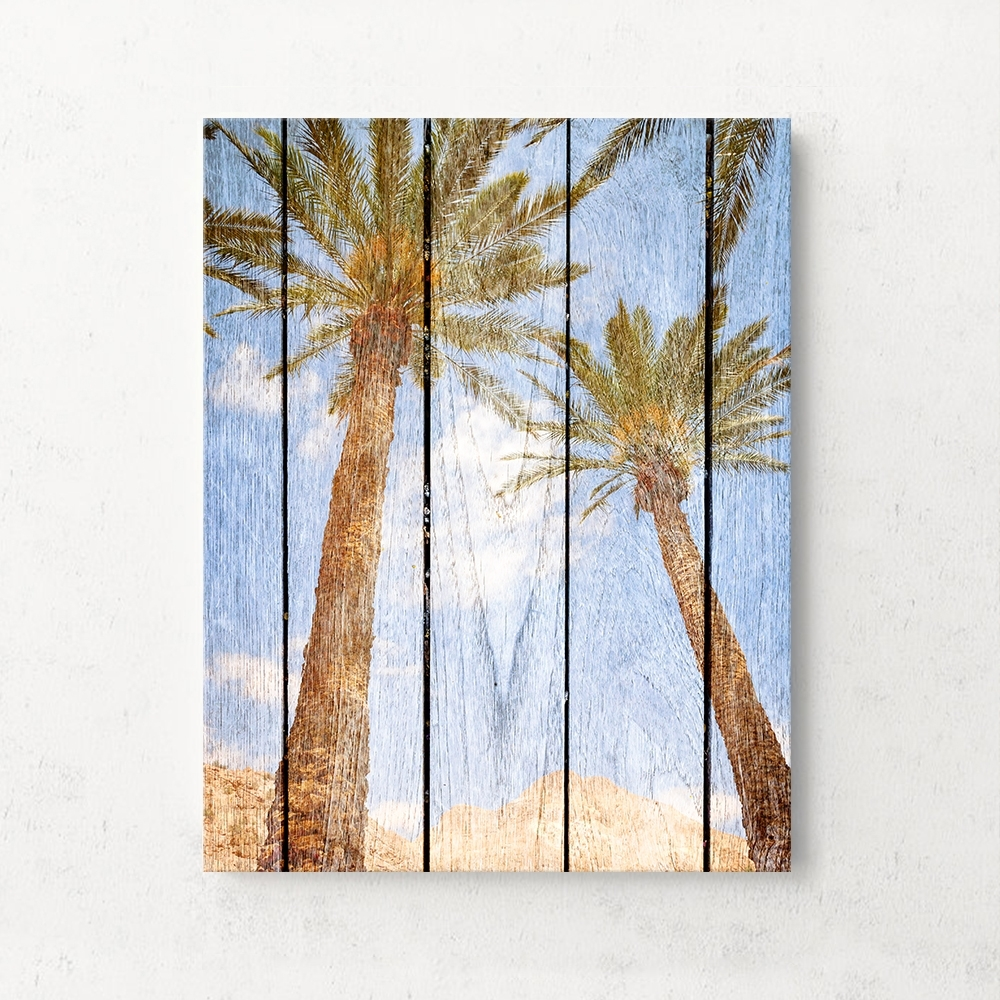 Funlife Wooden Background Coconut Tree Pineapple Palm Leaves Frame For Most Up To Date Canvas Wall Art Of Trees (View 5 of 15)