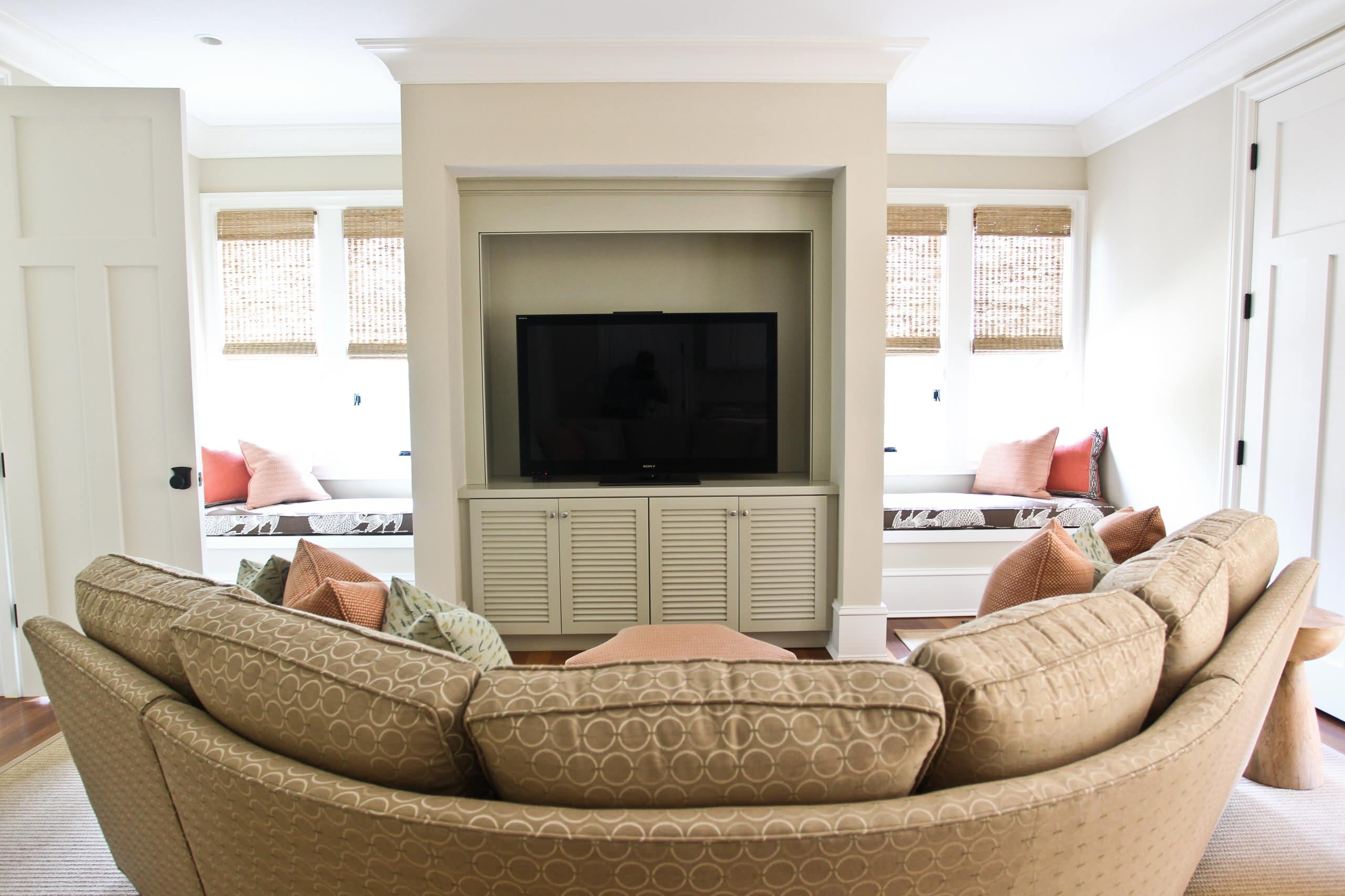 Furniture: Beautiful Brown Accent Curved Couch And Decorative With Regard To Most Popular Wall Accents Behind Tv Or Couch (View 14 of 15)