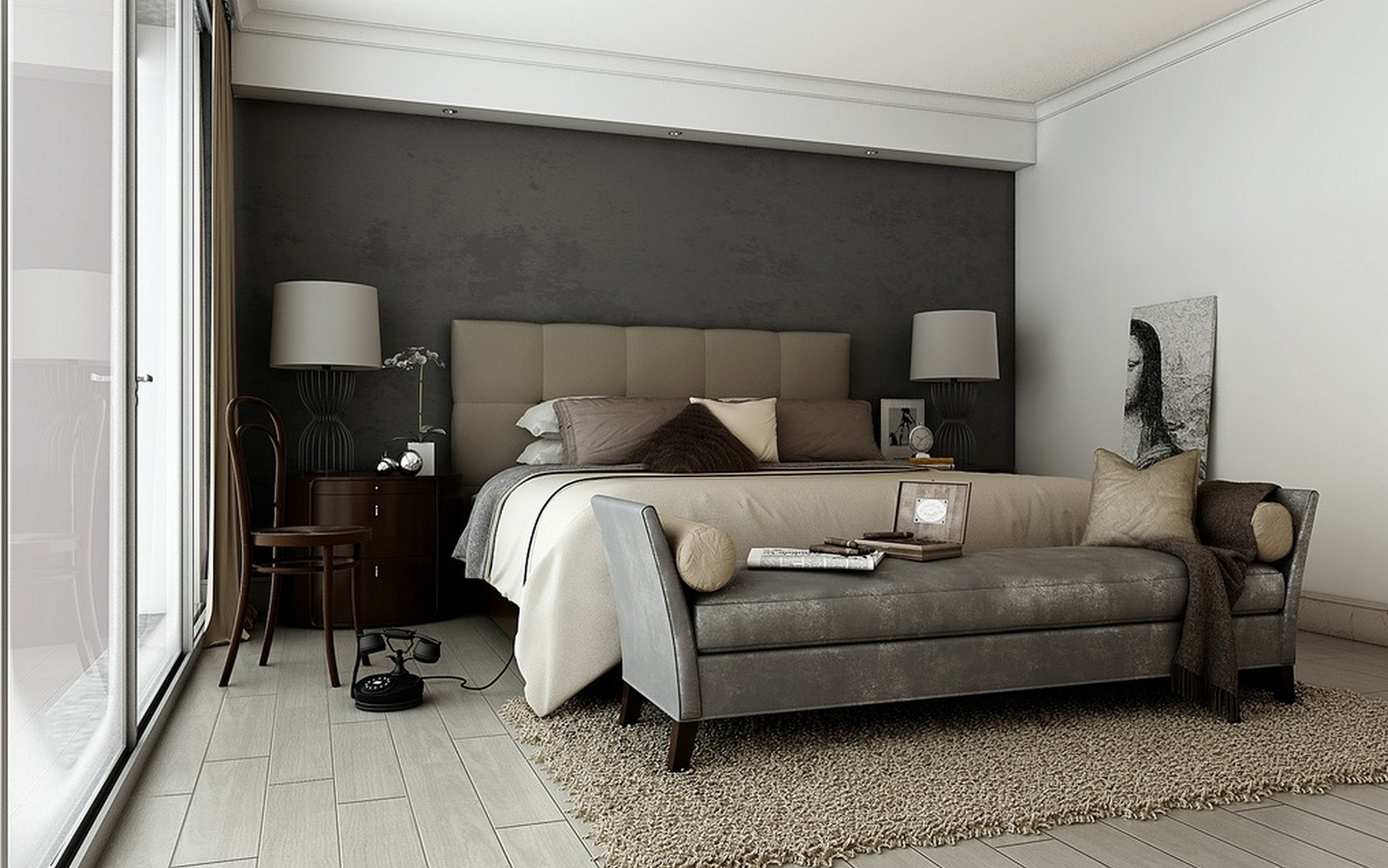 Futuristic Bedroom Design With Drum Shape White Double Table Lamp with regard to Newest Grey And White Wall Accents