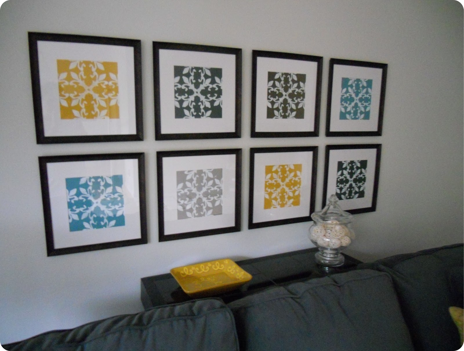 Gallery Wall Made From Inexpensive Frames, Scrapbook Paper For Most Recently Released Inexpensive Fabric Wall Art (View 7 of 15)