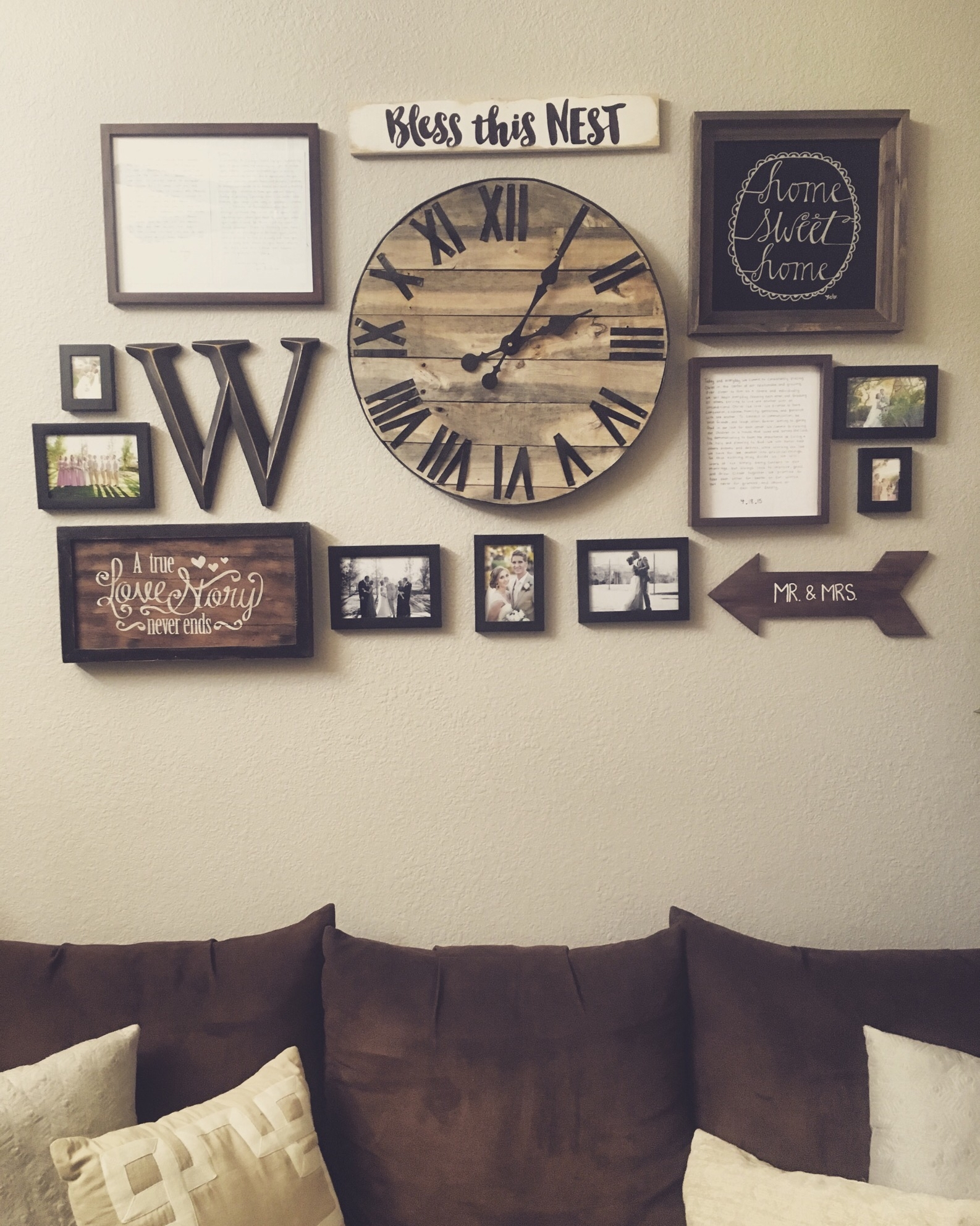 Gallery Wall With Handmade Pallet Clock Http://hubz/98/this For Best And Newest Clock Wall Accents (View 8 of 15)