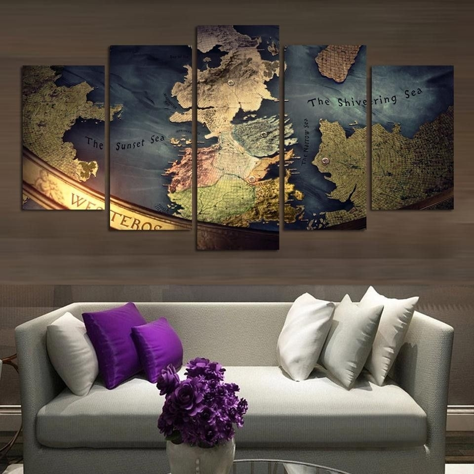 Game Of Thrones Map Canvas Print Wall Art Home Decor | Canvases Within Most Recently Released Gaming Canvas Wall Art (View 9 of 15)