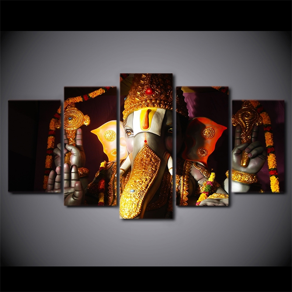 Ganesha Poster Elephant Ganesh India Religion Lord Balaji Canvas Inside Current India Canvas Wall Art (Gallery 3 of 15)