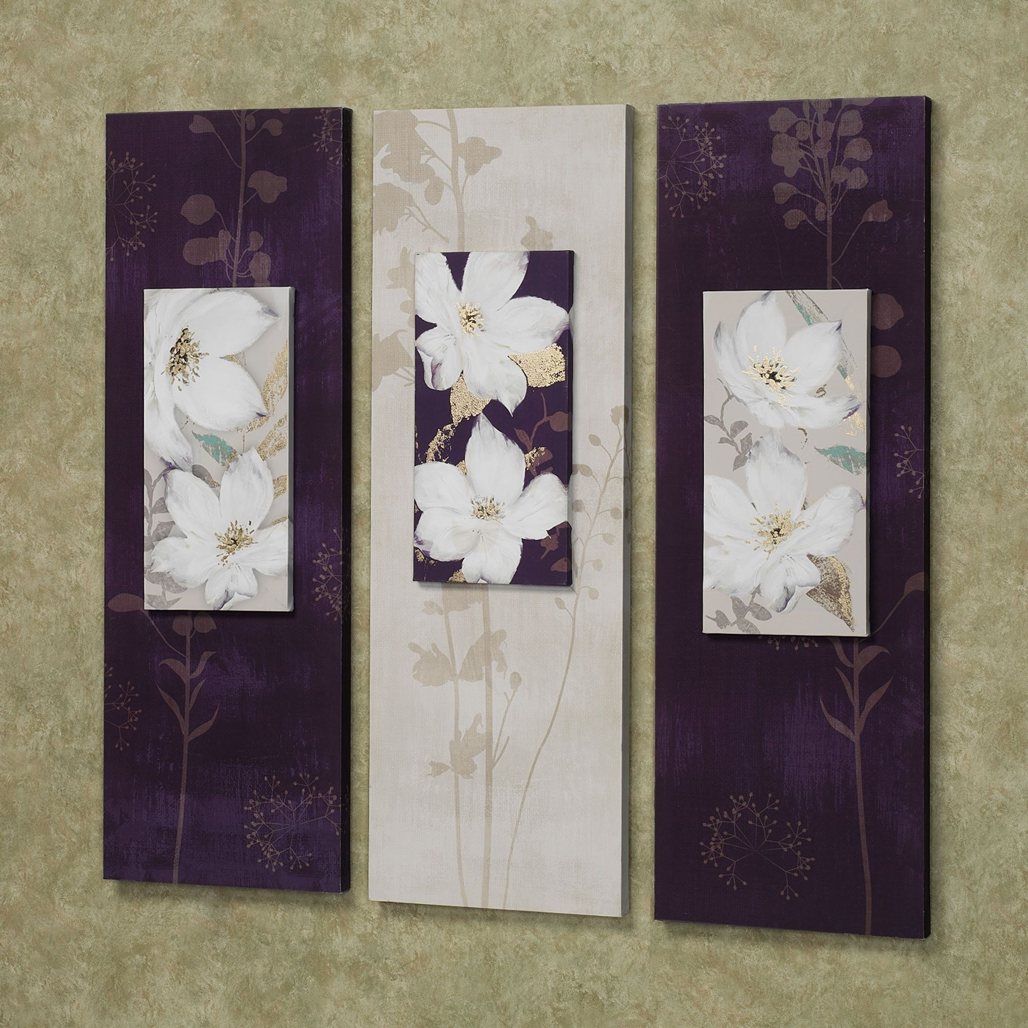 Garden Dance Floral Canvas Wall Art Set | Wall Art Sets, Canvases With Most Recent Canvas Wall Art In Purple (Gallery 1 of 15)