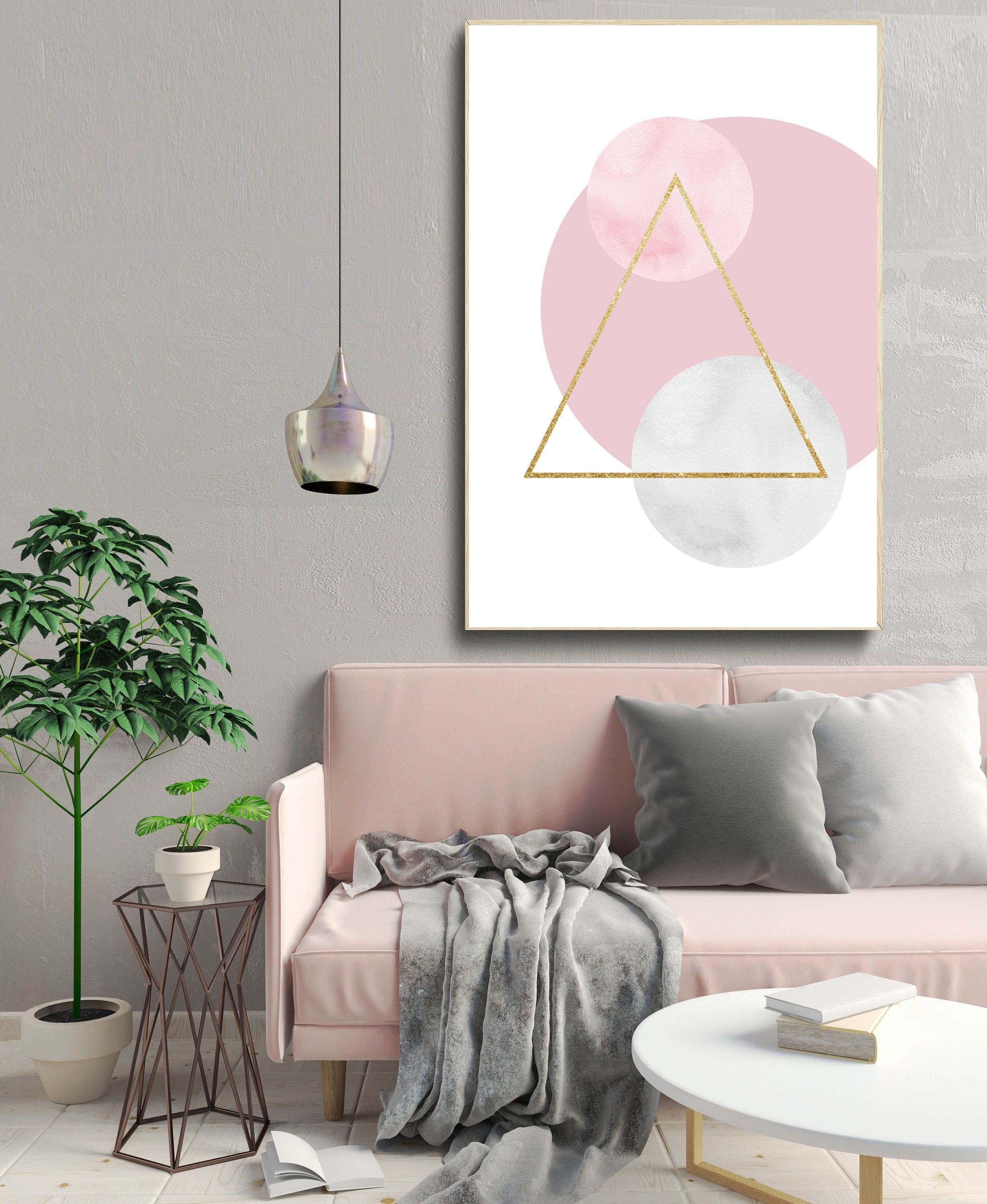 Geometric Abstract Art Print, Shapes Wall Art, Nordic Design Inside Latest Scandinavian Fabric Wall Art (View 7 of 15)