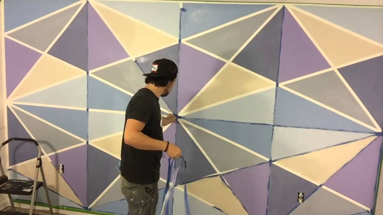 Geometric Wall Paint – Youtube In 2018 Geometric Shapes Wall Accents (View 11 of 15)