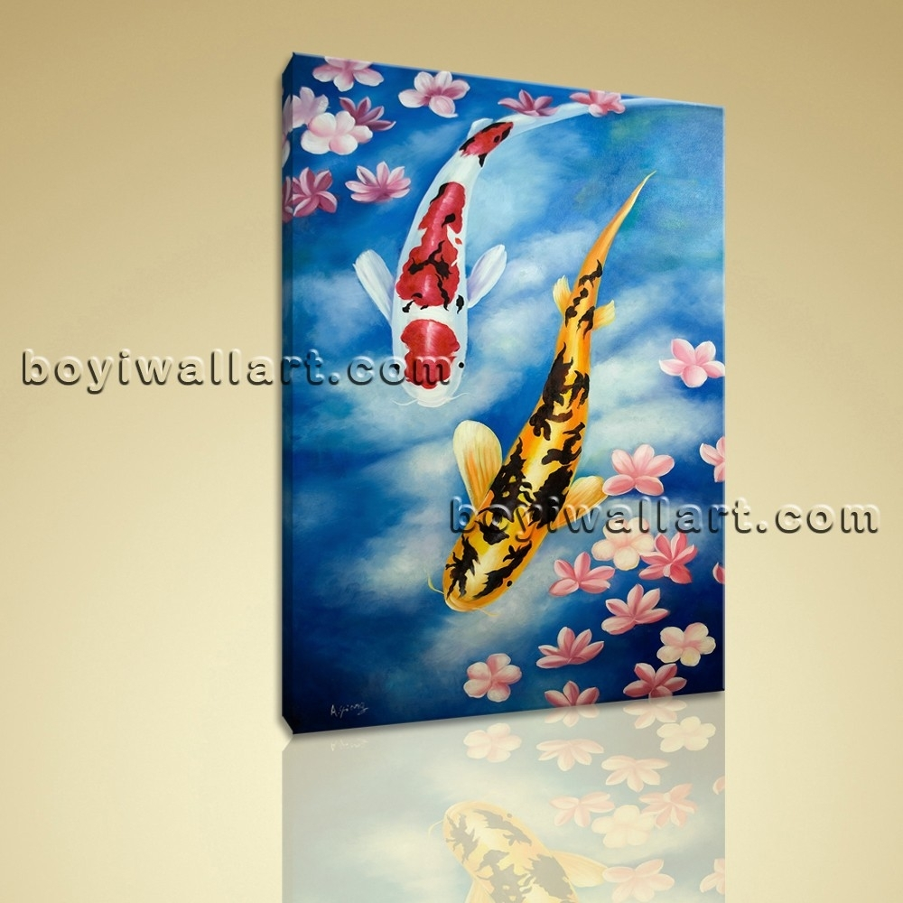 Giclee Prints On Canvas Feng Shui Zen Wall Art Koi Fish Gallery Pertaining To Recent Koi Canvas Wall Art (Gallery 15 of 15)