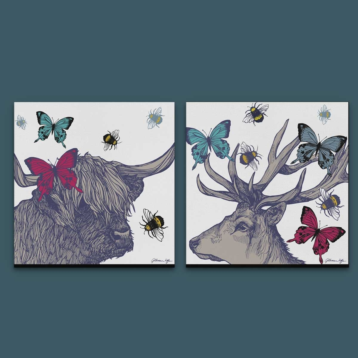 Gillian Kyle Scottish Wall Art Stag And Lola Set Of Two Canvas Prints For 2018 Canvas Wall Art Pairs (View 10 of 15)