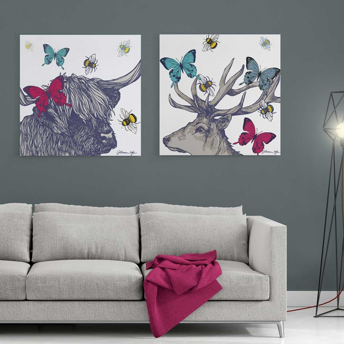Gillian Kyle Scottish Wall Art Stag And Lola Set Of Two Canvas Prints Inside Latest Canvas Wall Art Pairs (View 3 of 15)