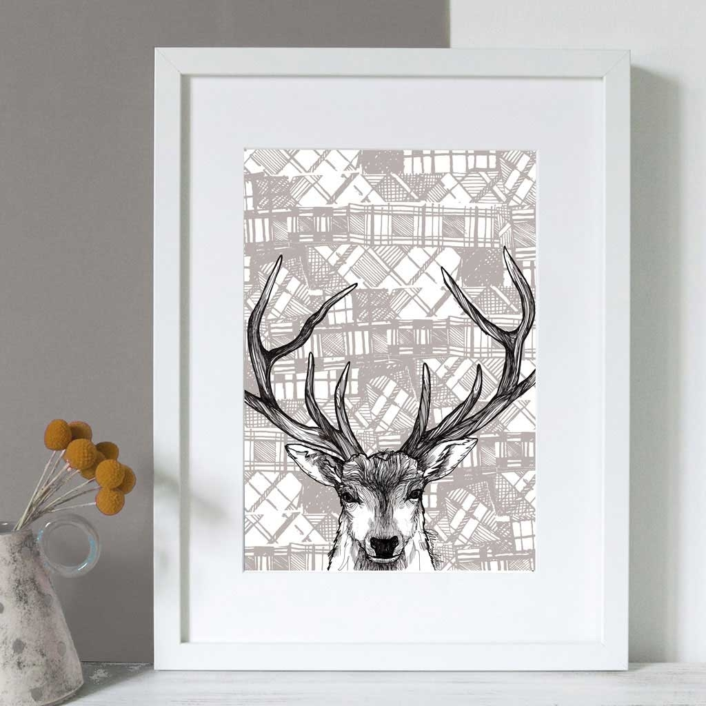 Gillian Kyle Scottish Wall Art Tartan Stag Canvas Print Within Recent Deer Canvas Wall Art (View 13 of 15)
