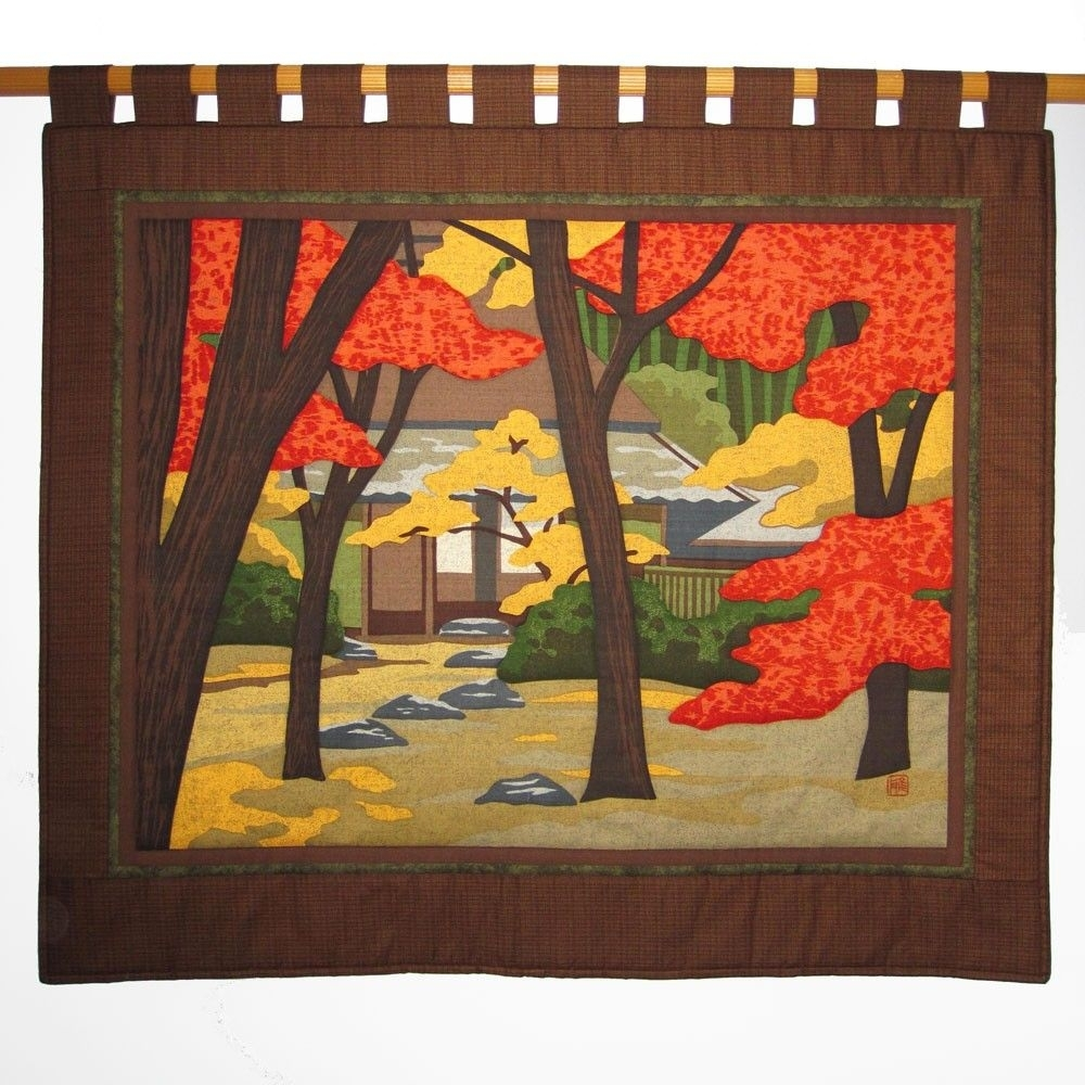 Gioji Temple Large Wall Hanging Quilt Japanese Asian Fabric Price In 2018 Asian Fabric Wall Art (Gallery 1 of 15)