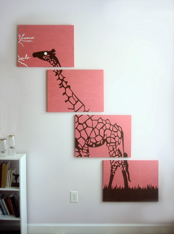 Giraffe Canvas Print – Pink Giraffe Art – Nursery Decor – Baby With 2018 Fabric Animal Silhouette Wall Art (View 10 of 15)