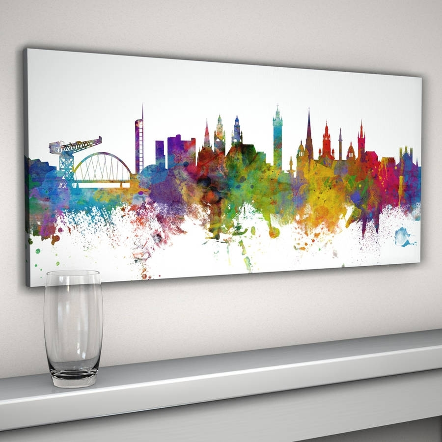 Glasgow City Skyline Print | Skyline Art, Abstract Watercolor And With Most Recent Edinburgh Canvas Prints Wall Art (View 8 of 15)