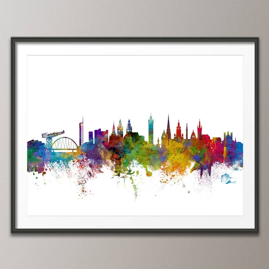 Glasgow City Skyline Print | Skyline Art, Abstract Watercolor And With Most Up To Date Glasgow Canvas Wall Art (View 4 of 15)