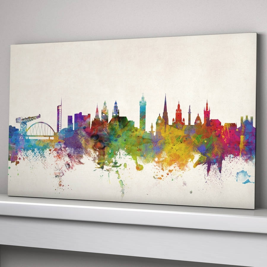 Glasgow City Skyline Printartpause | Notonthehighstreet Inside Recent Glasgow Canvas Wall Art (Gallery 2 of 15)