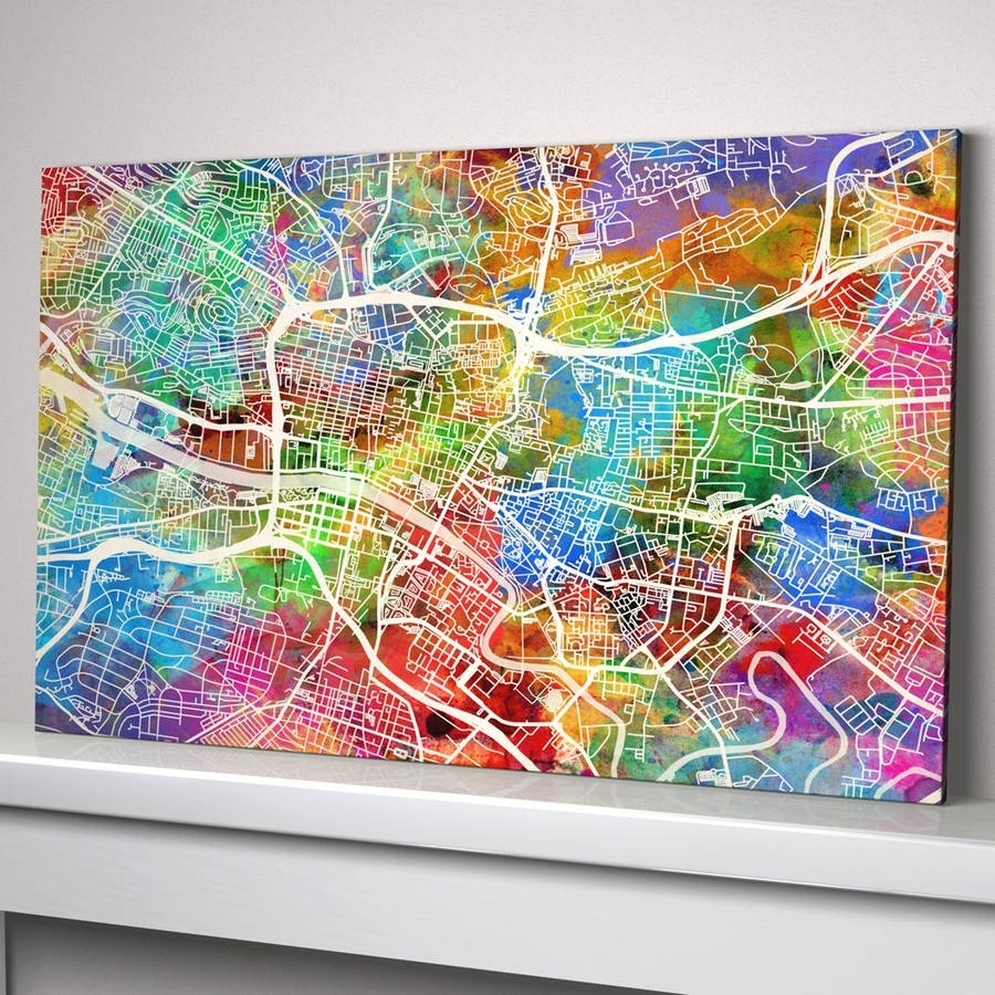 Glasgow Map Art Printartpause | Notonthehighstreet For Most Current Glasgow Canvas Wall Art (View 6 of 15)