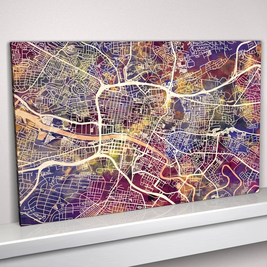 Glasgow Map Art Printartpause | Notonthehighstreet Pertaining To Best And Newest Glasgow Canvas Wall Art (View 10 of 15)