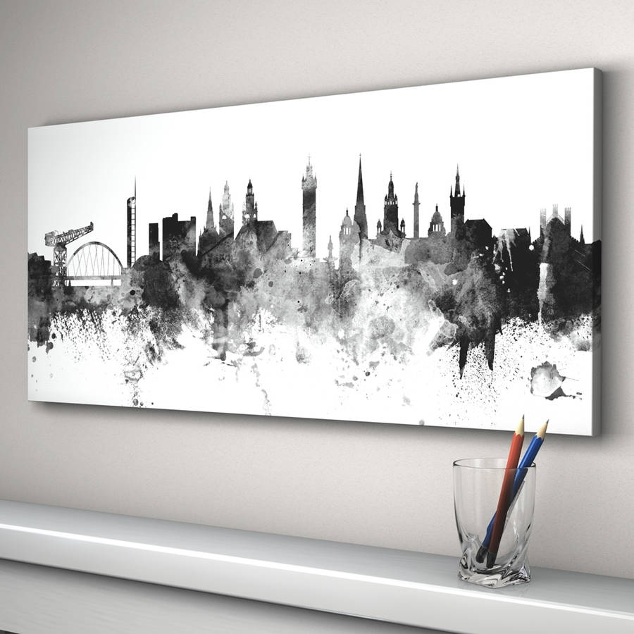 Glasgow Skyline Cityscape Black And White Art Printartpause With Regard To Best And Newest Glasgow Canvas Wall Art (Gallery 4 of 15)