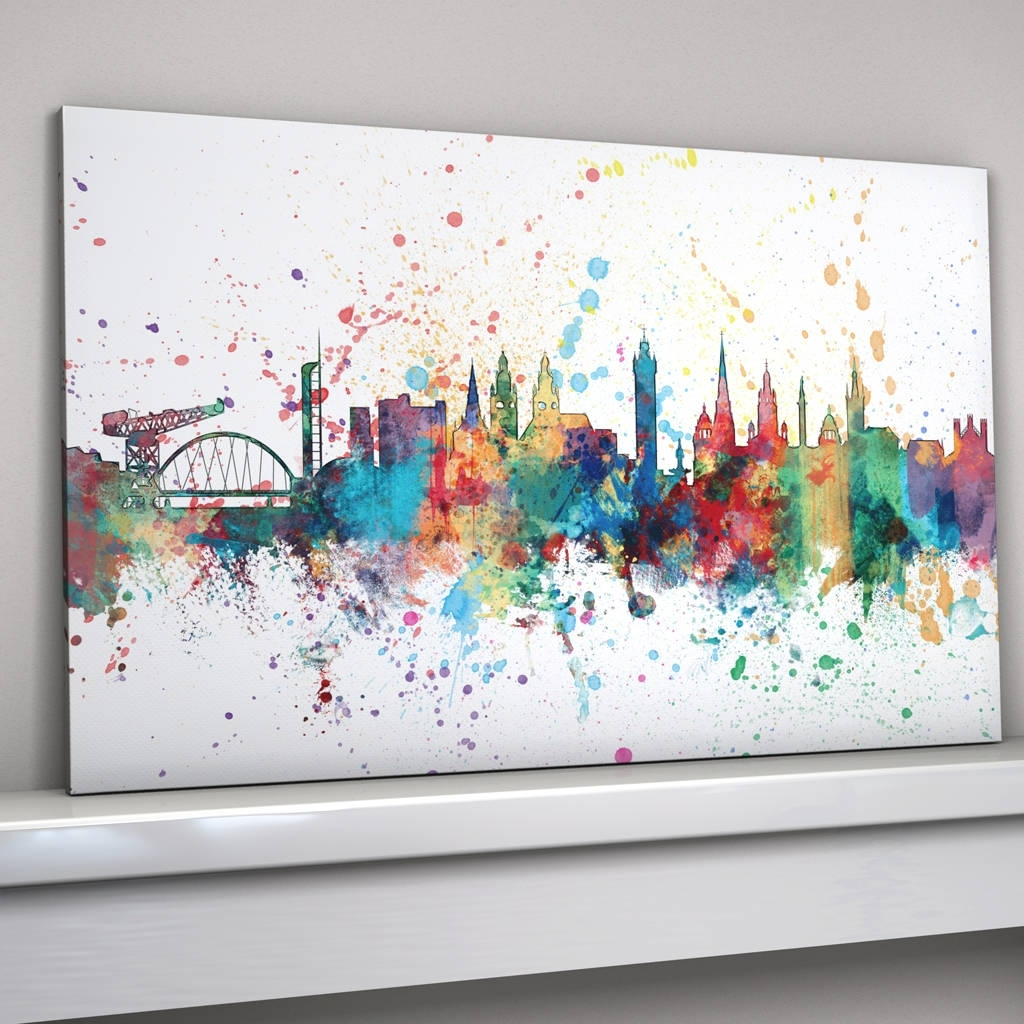 Glasgow Skyline Cityscape Paint Splashes Printartpause In Most Recent Glasgow Canvas Wall Art (Gallery 9 of 15)