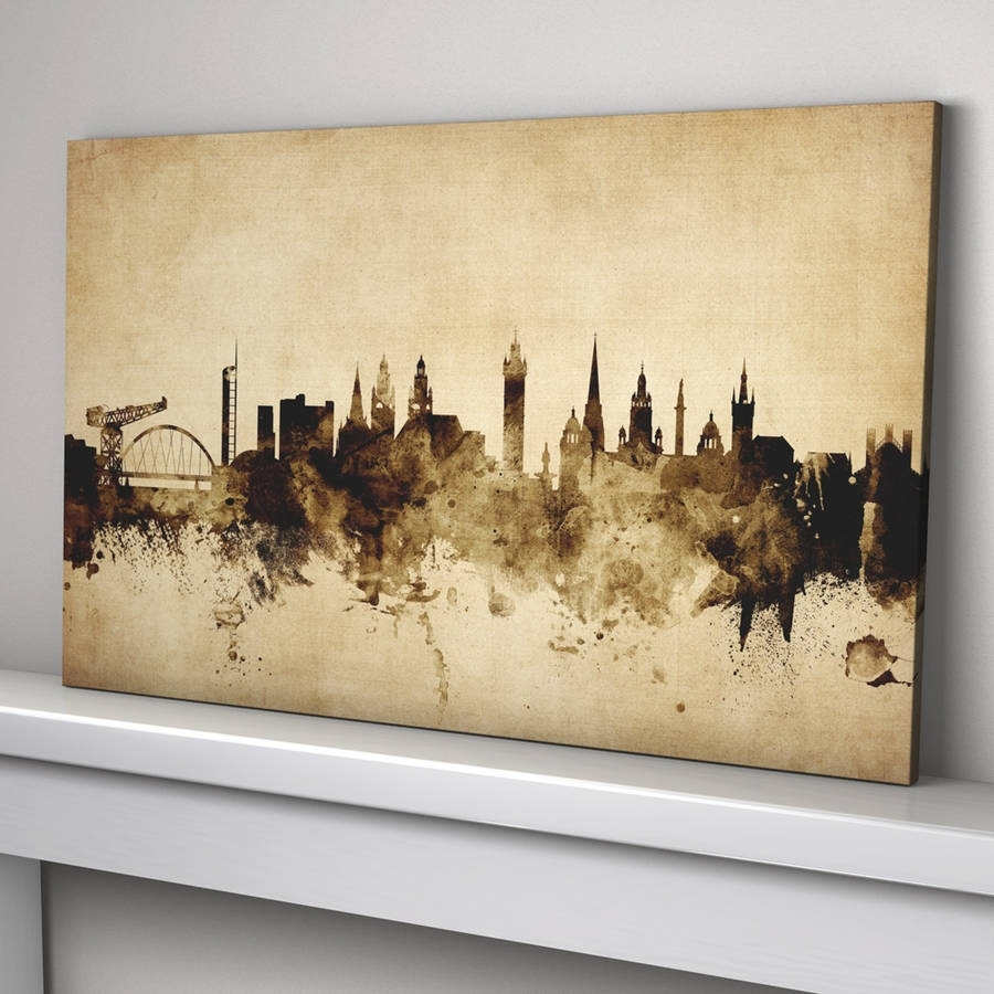 Glasgow Skyline Cityscape Vintage Art Printartpause With Regard To Latest Glasgow Canvas Wall Art (Gallery 7 of 15)