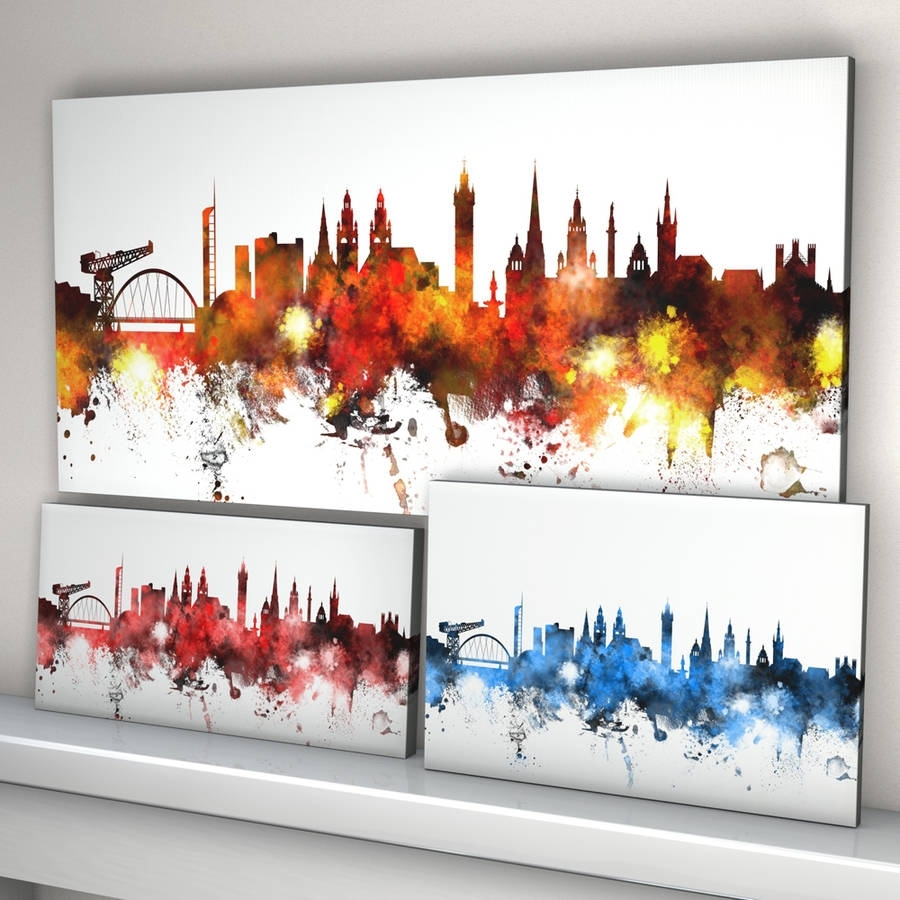 Glasgow Skyline Cityscapeartpause | Notonthehighstreet Within Most Current Glasgow Canvas Wall Art (View 12 of 15)