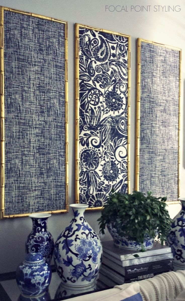 Gold Bamboo Frames With Navy Blue Chinoiserie Fabric! | Timeless Regarding Latest Homemade Wall Art With Fabric (Gallery 4 of 15)