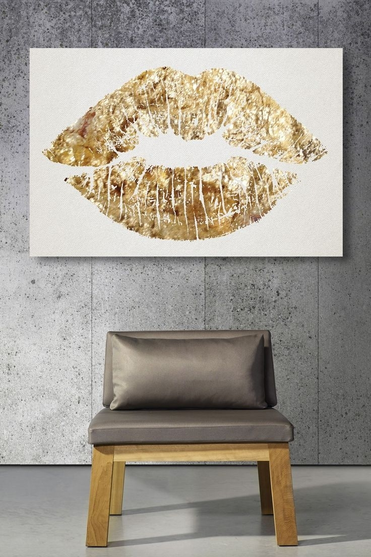 Gold Glitter Lips Canvas Art. (View 7 of 15)