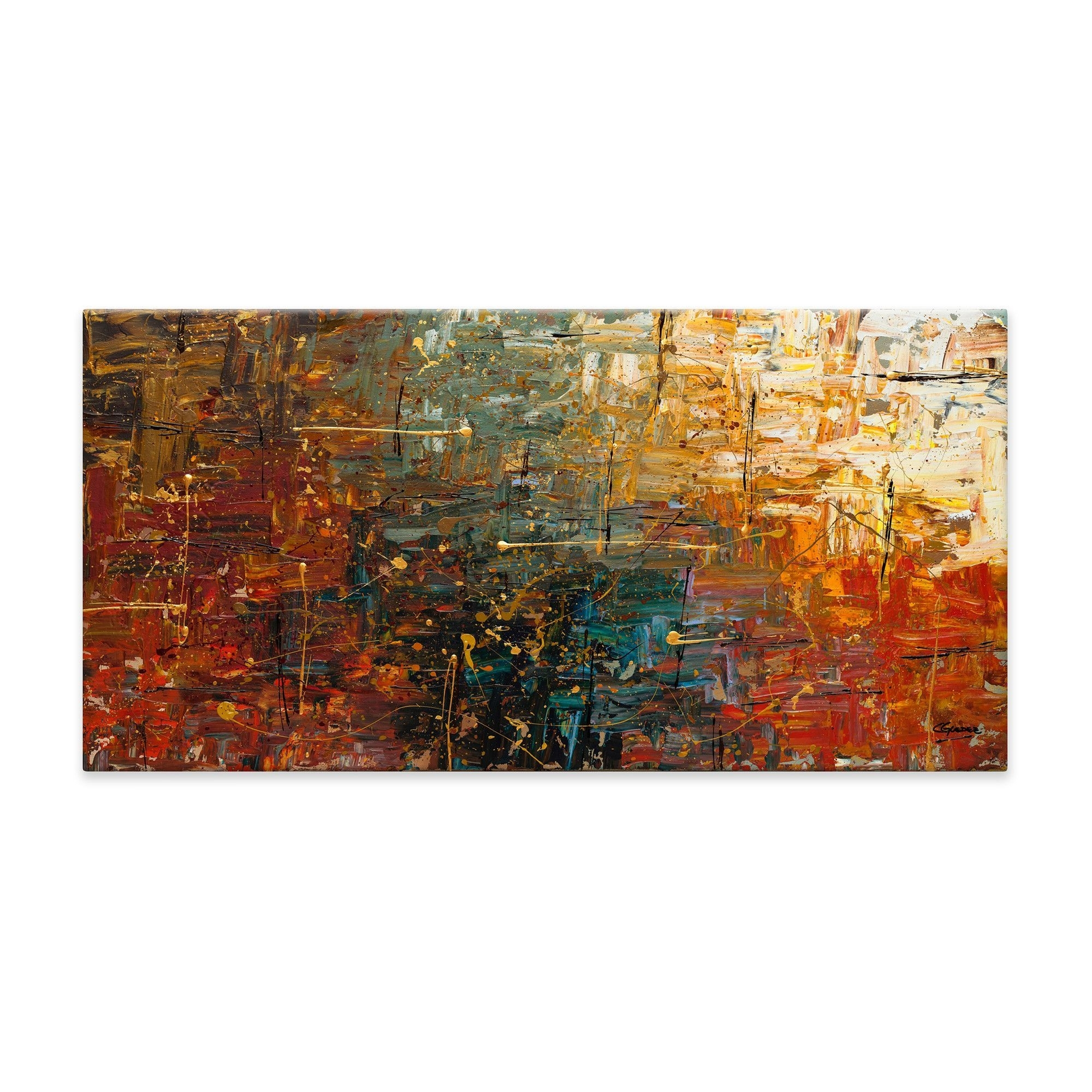 Gold Splashcarmen Guedez Painting Print On Canvas | Painting Regarding 2018 Canvas Wall Art Pairs (View 5 of 15)