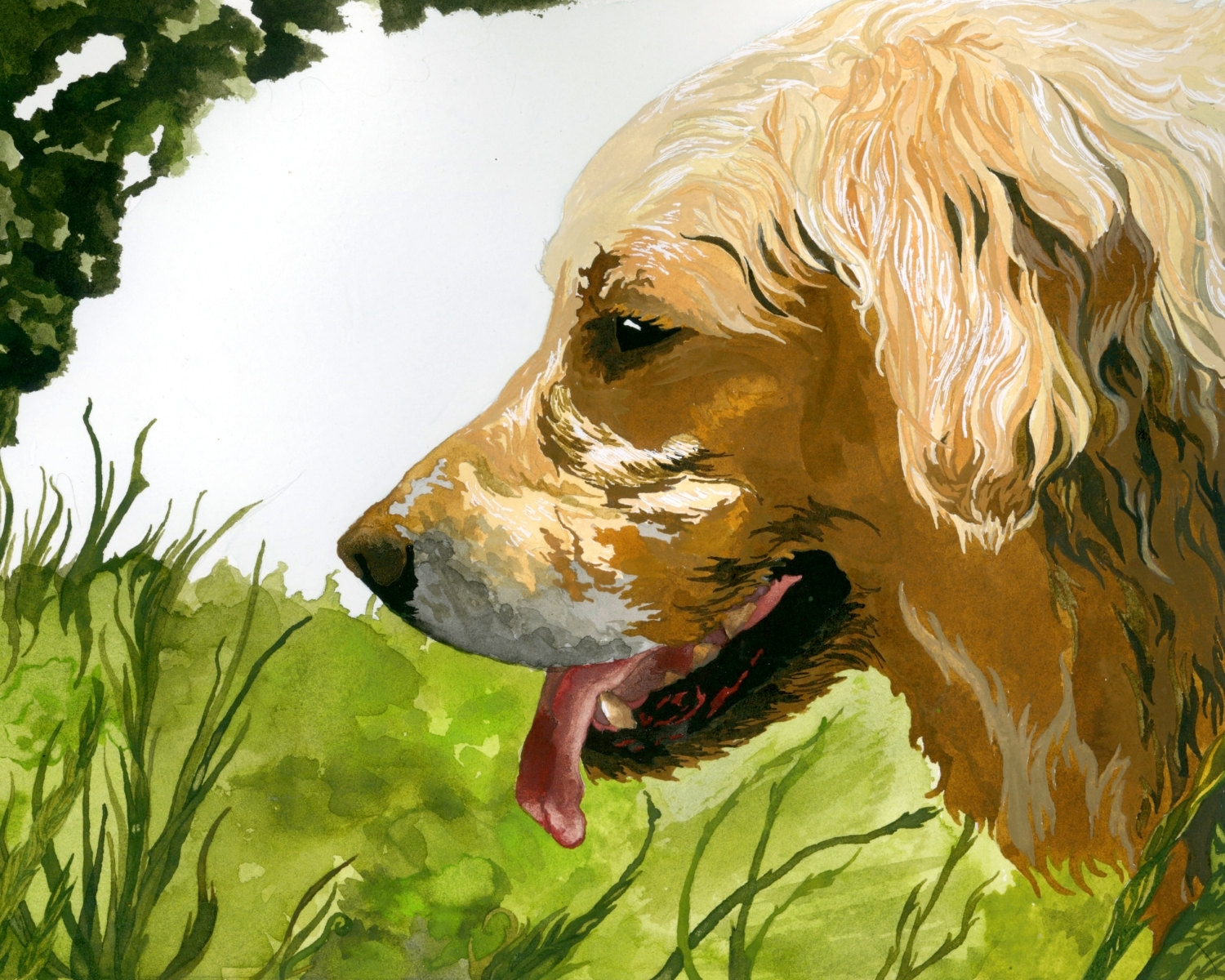 Golden Retriever Artist Watercolor Print, Dog Themed Dog Lover With Most Current Dog Art Framed Prints (View 14 of 15)