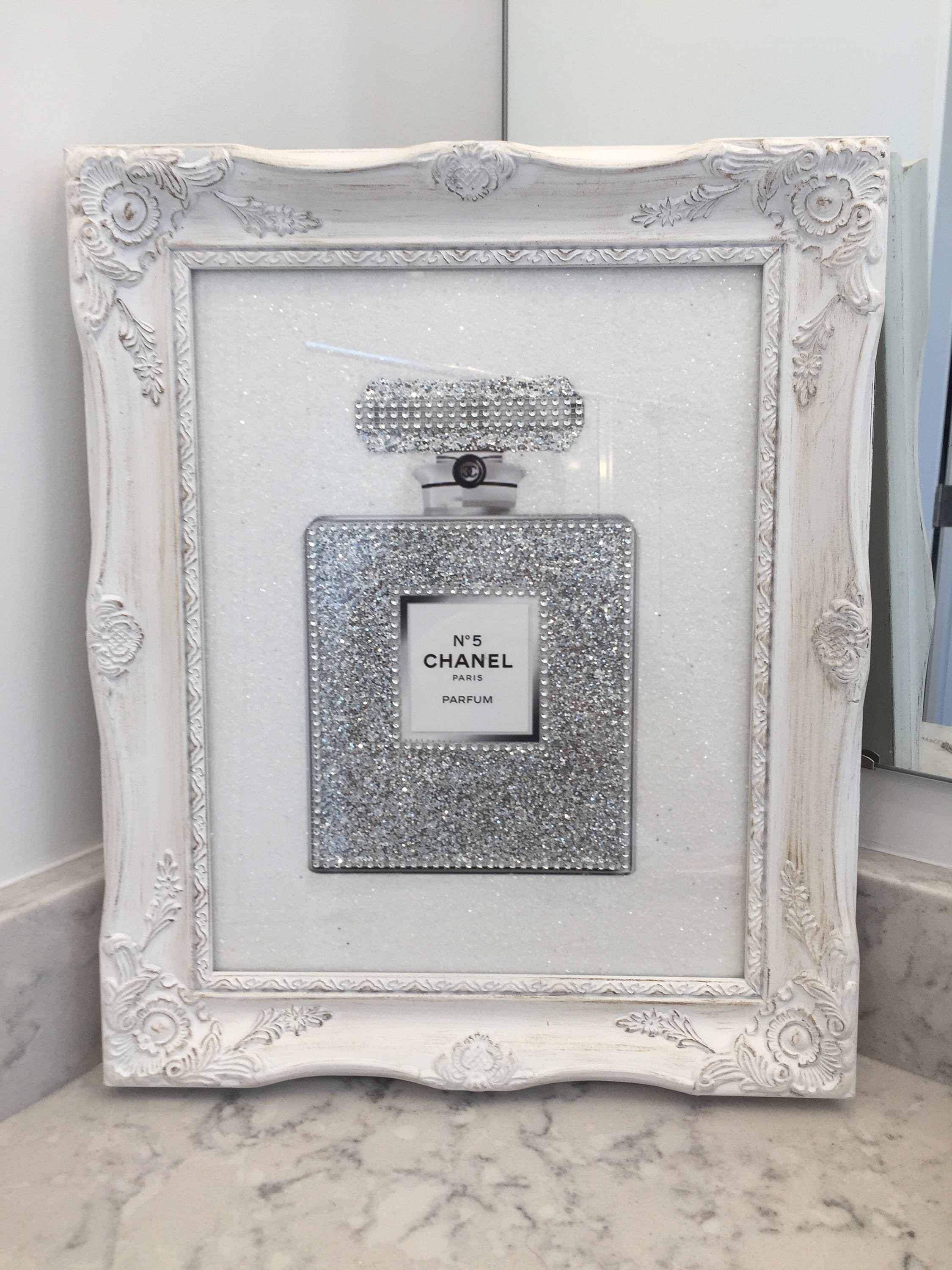 Gorgeous Framed Chanel Glitter Print Poster 14 X 11 Chanel No (View 7 of 15)