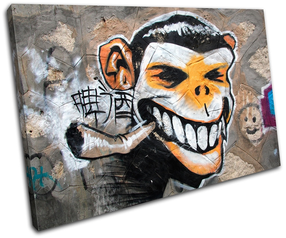 Graffiti Art Canvases Monkey Urban Smoking Graffiti Single Canvas Pertaining To Most Popular Graffiti Canvas Wall Art (View 7 of 15)