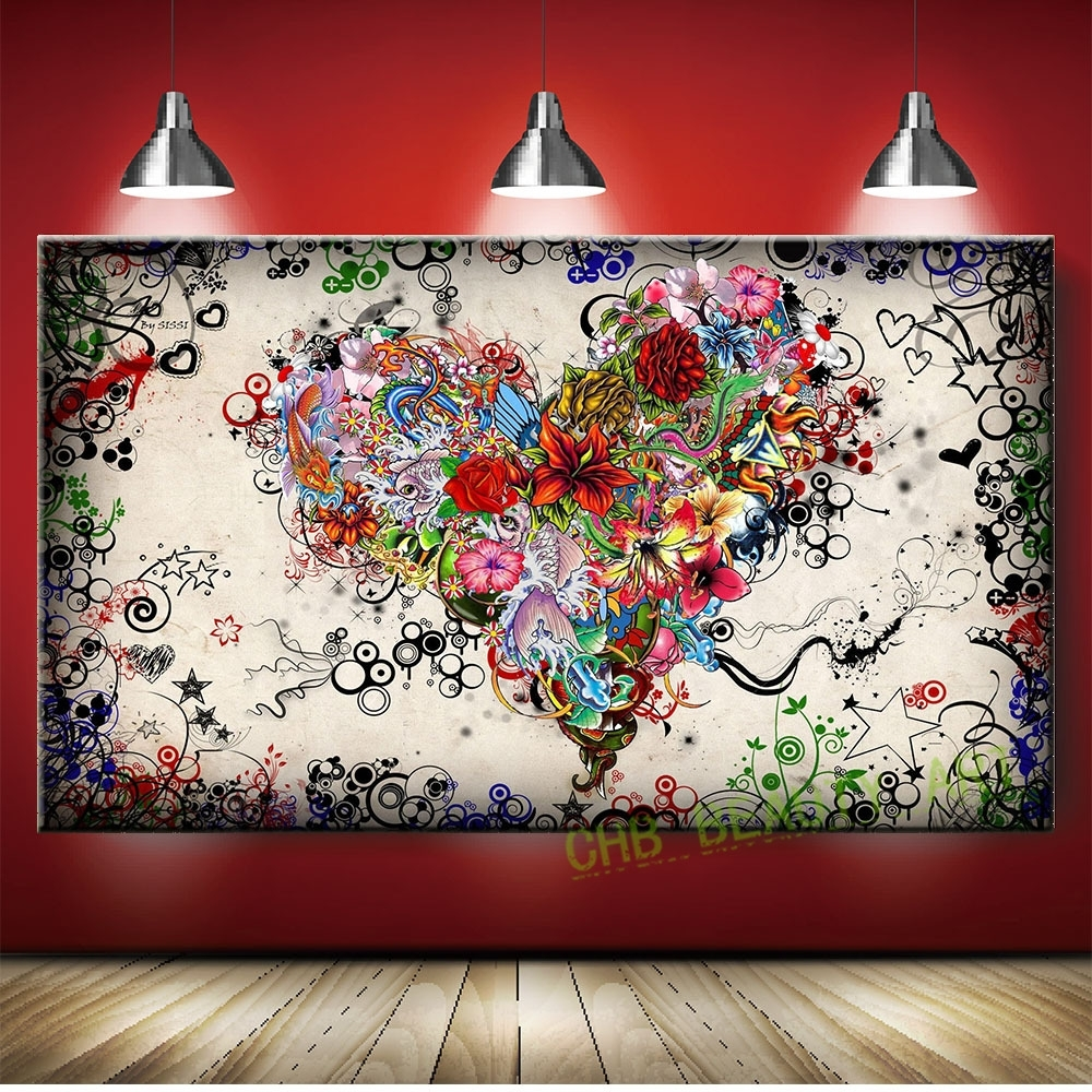 Graffiti Design Abstract Wall Art Heart Flowers Canvas Prints Throughout Most Current Hearts Canvas Wall Art (View 2 of 15)