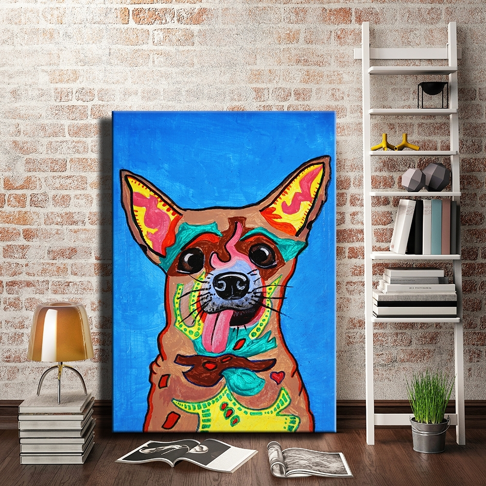 Graffiti Dogs Canvas Painting Wall Picture Strong Colorful Prints In 2018 Dogs Canvas Wall Art (Gallery 14 of 15)