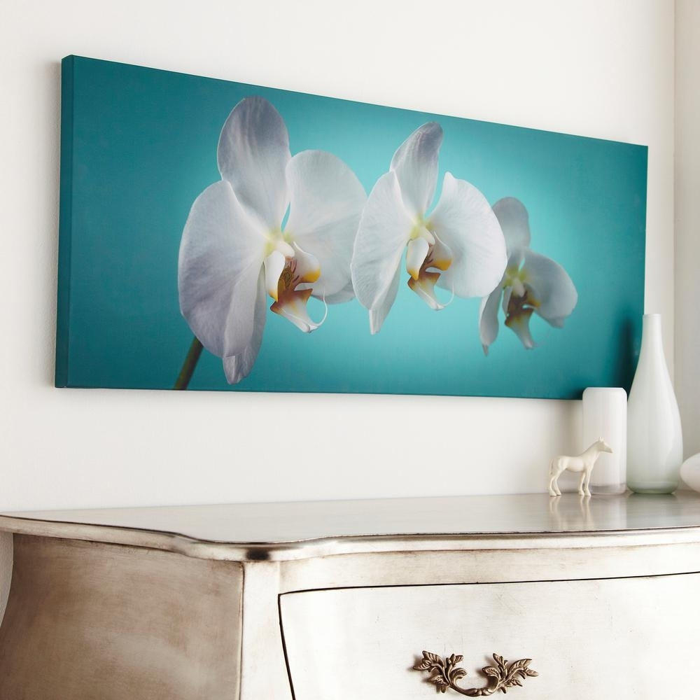 "Graham & Brown 39 In. X 16 In. ""teal Orchid""graham And Brown Intended For Recent Orchid Canvas Wall Art (Gallery 14 of 15)"