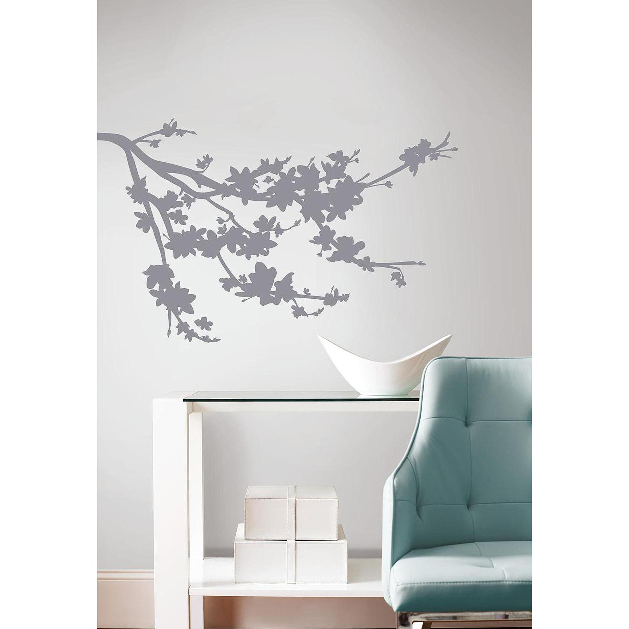 Gray Silhouette Blossom Branch Peel And Stick Wall Decals Within Most Up To Date Canvas Wall Art At Walmart (View 6 of 15)