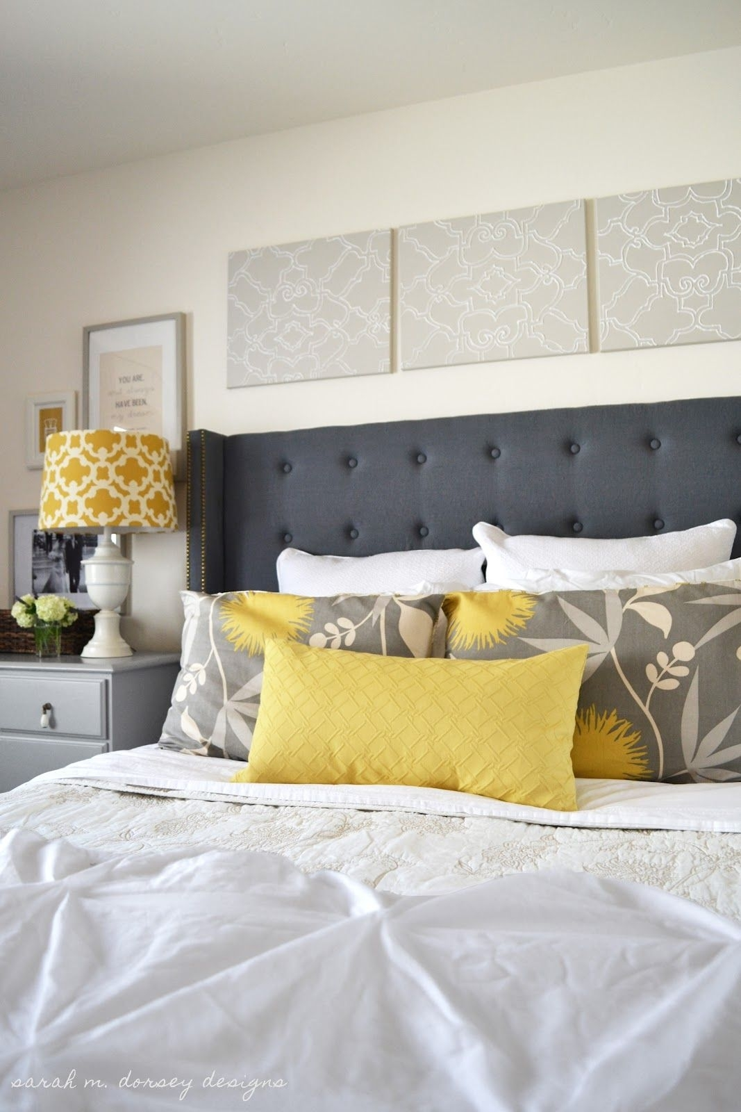 Gray & Yellow | Love The Canvas Art Above The Bedpainted, Then For Most Recent Fabric Wall Art Above Bed (View 7 of 15)